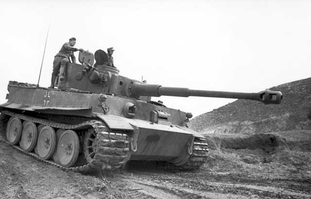 Panzer VI Tiger I with muzzle brake in Tunisia worldwartwo.filminspector.com