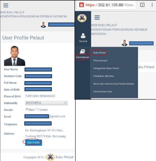 menyesuaikan data/Profile Pelaut - Buku Pelaut Online Di KSOP Tanjung Emas