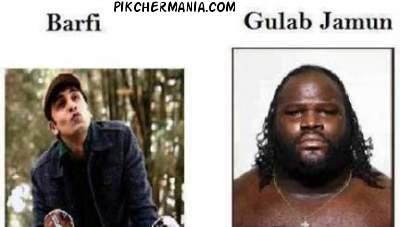 funny ranbir kapoor as white barfi and mark jerrold henry as black gulab jamun