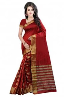 Silk Casual Wear Saree In Red Colour