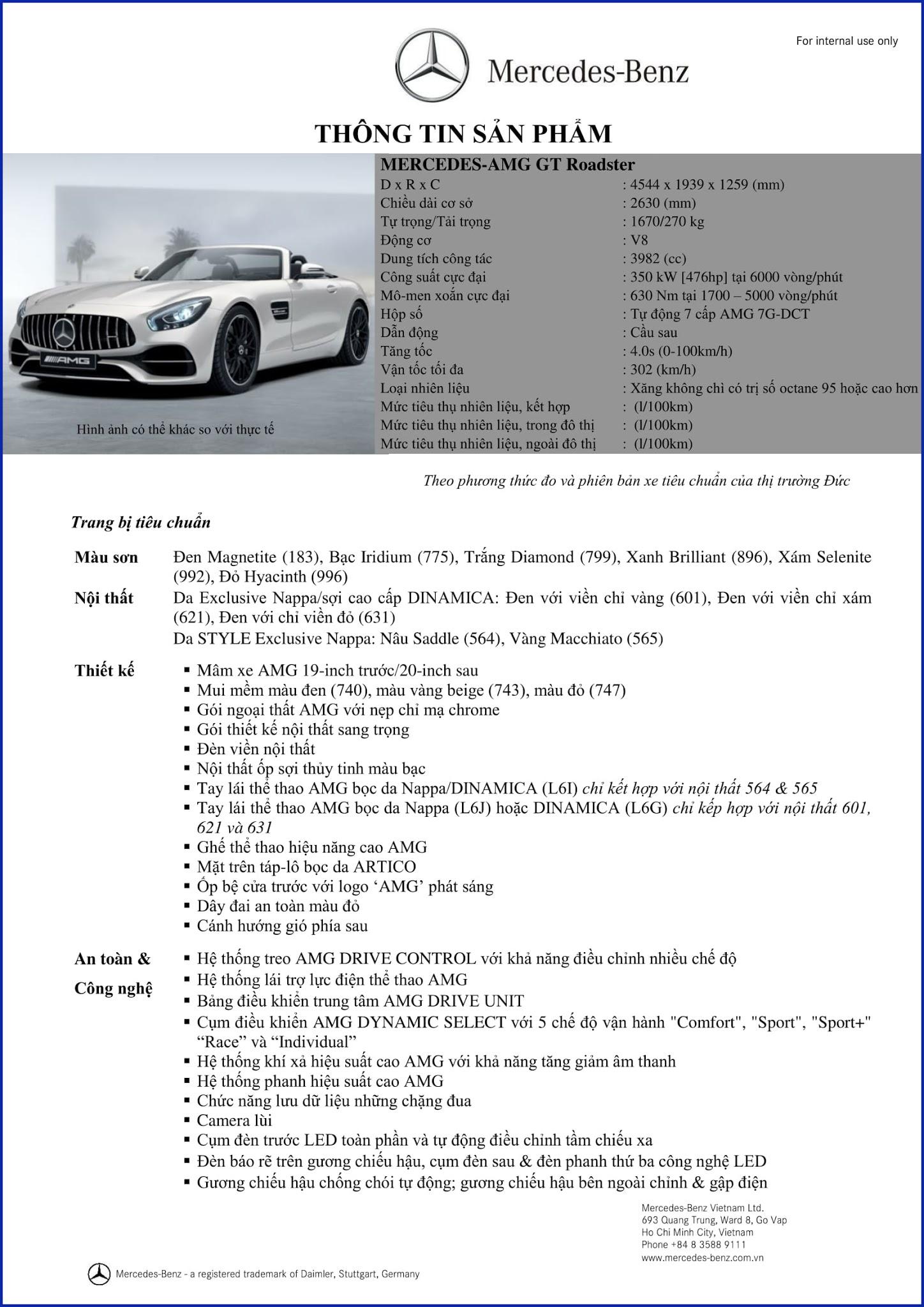 Bảng thông số kỹ thuật Mercedes AMG GT Roadster 2019 tại Mercedes Trường Chinh