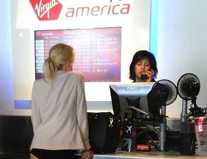 woman boards virgin america underwear