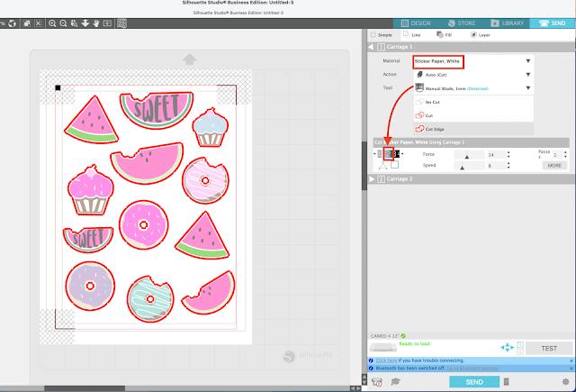 stickers, cameo 4, print and cut, sticker paper, Cut settings