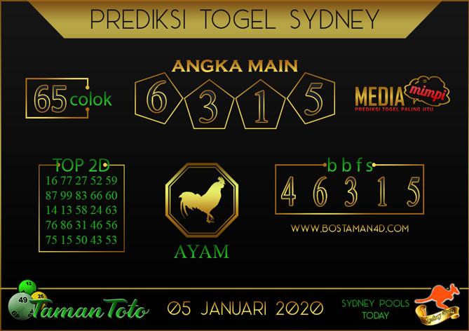 Prediksi Togel SYDNEY TAMAN TOTO 05 JANUARI 2020