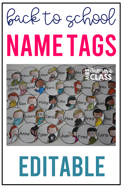 Back to school name tags and labels with 32 different editable options for your classroom. Perfect for labeling desks, cubbies, book baskets, binders, coat hooks, boxes, and anything else you'd like! Sixteen boy and sixteen girl options are included in each pack! #classroomsetup #backtoschool #nametags #classroom #labels #classroomorganization #teaching #classroomideas
