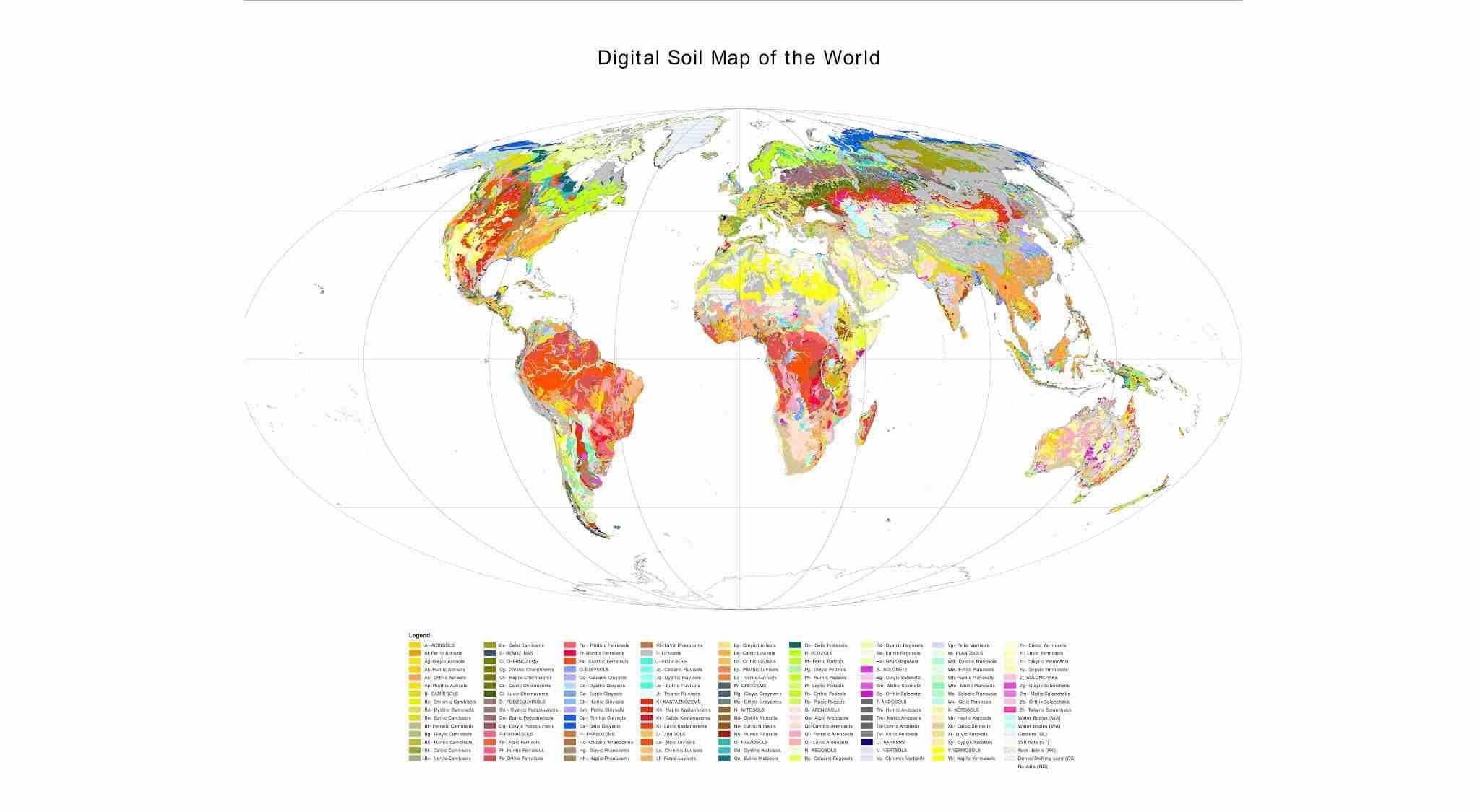 Download Shapefile Jenis Tanah Seluruh Dunia Lengkap (Skala 1 : 3.000.000), Sumber FAO-Unesco th 2007