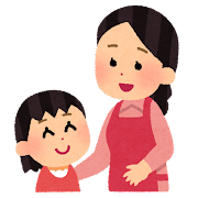 お母さんと話をする女の子のイラスト
