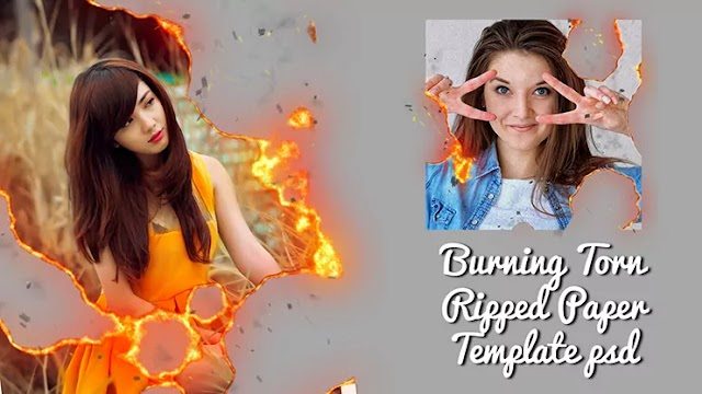 Burning Torn Ripped Paper Template psd