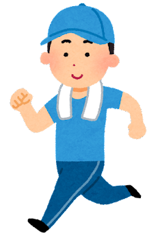 ジョギングをする男性のイラスト(帽子付き)