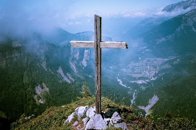 Mountain with cross.