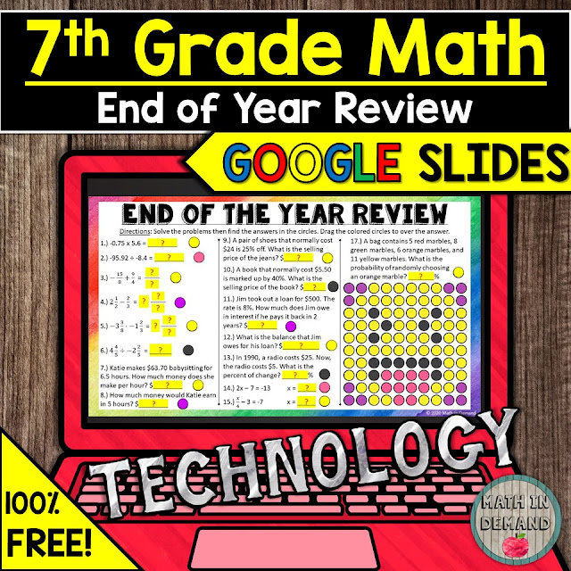 7th Grade Math End of Year Review in Google Slides Distance Learning Remote Learning
