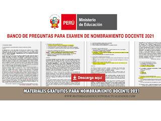 Banco De Preguntas Para Examen De Nombramiento Docente 2021 Materiales Educativos