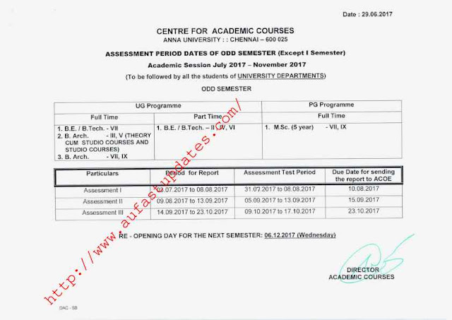 University Departments Schedule - UG & PG ODD Semester (Except I Semester) Academic Schedule