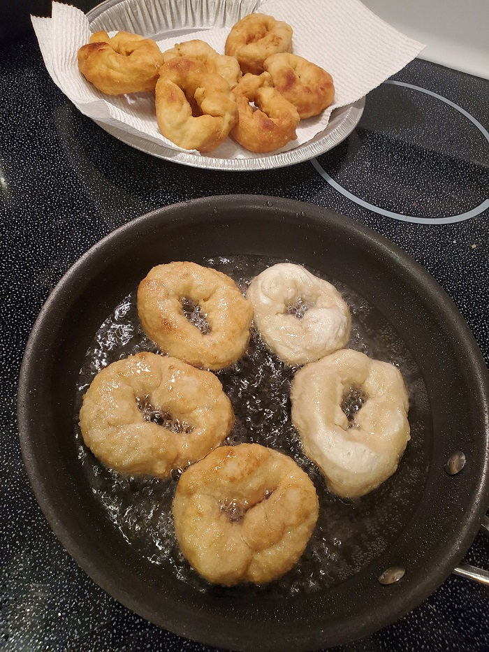 this is pizza dough frying in hot oil called zeppole or Pizza fritta Italian dessert