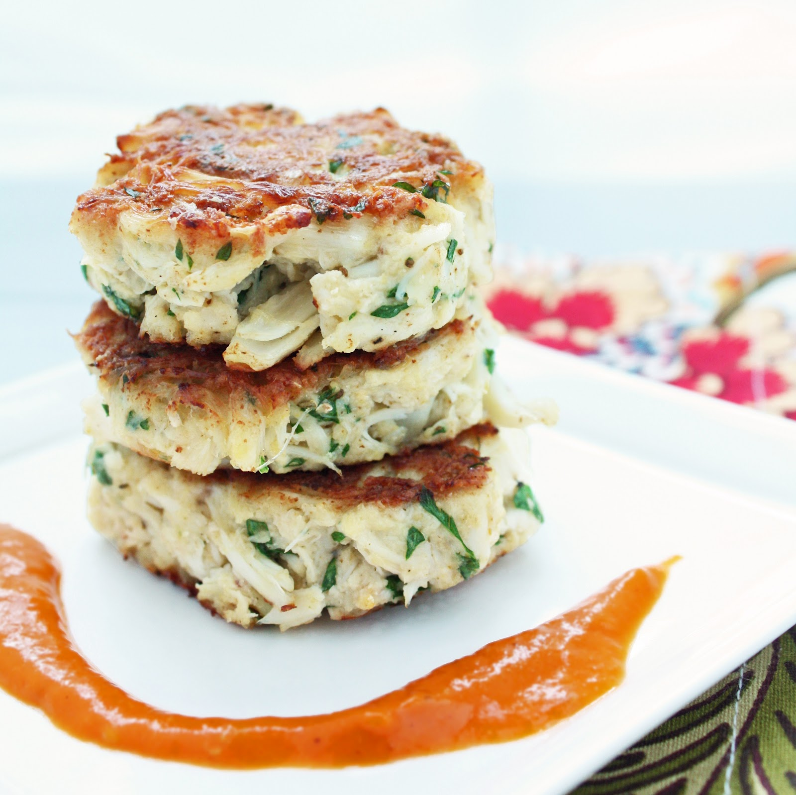 Low Carb Crab Cakes W Roasted Red Pepper Sauce I Breathe I M Hungry
