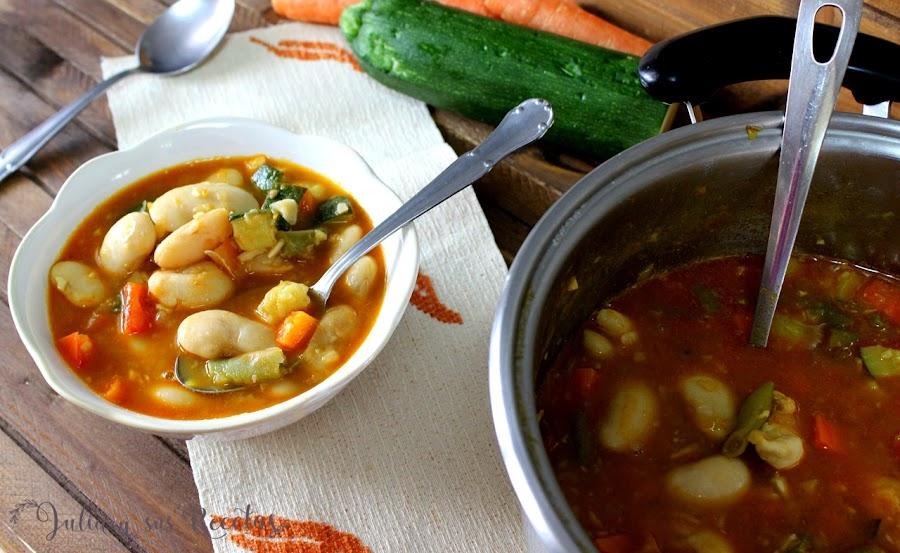 Judiones con verdura. Julia y sus recetas