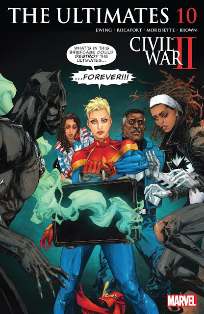 "The Ultimates #10 cover showing Captain Marvel holding out a briefcase leaking green smoke to a group of shocked heroes with the text bubble above her head reading ""What's ins this briefcase could destroy the Utlimates... FOREVER!!!"""