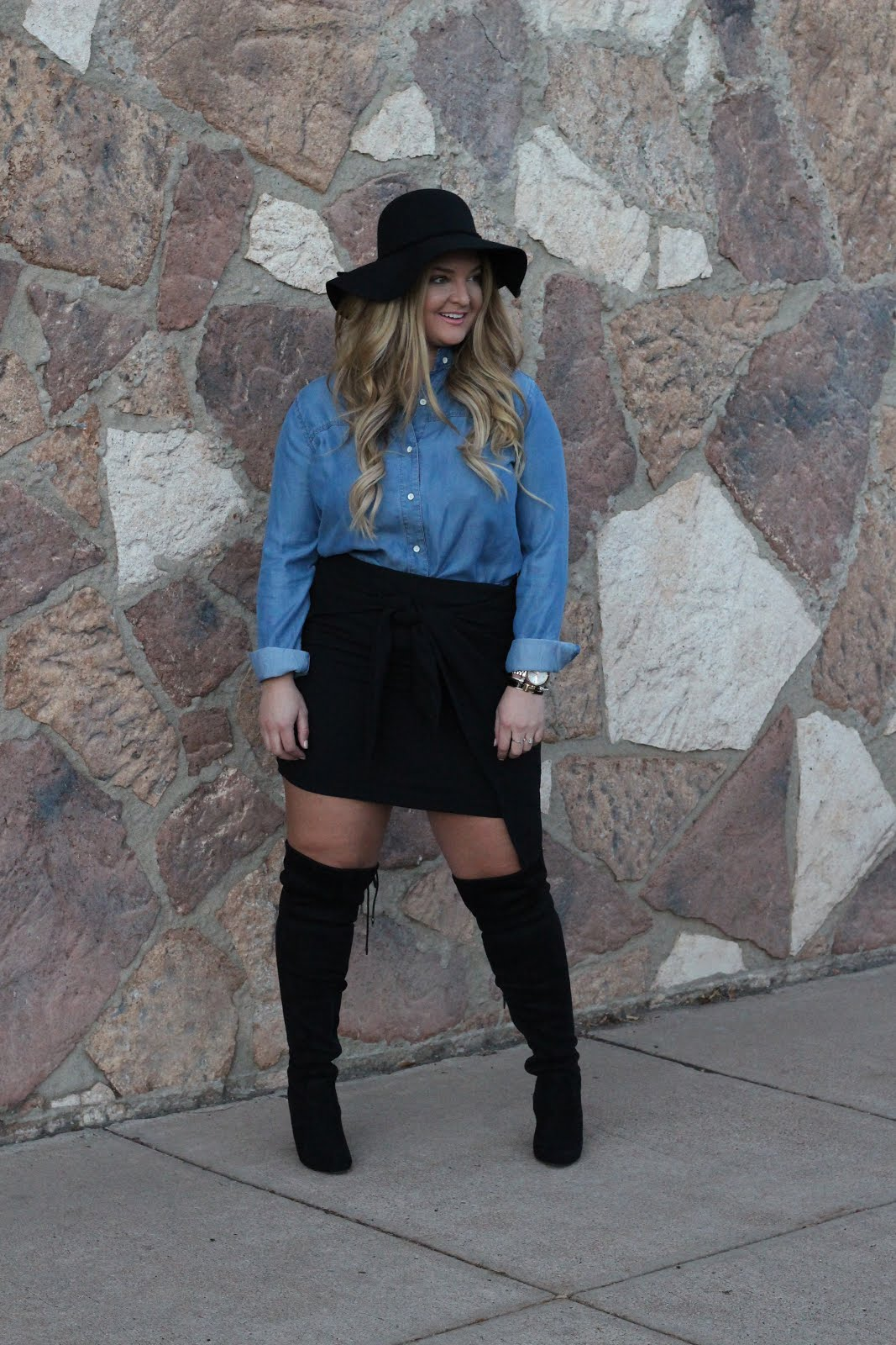 Chambray Button Up Shirt by popular Denver style blogger Delayna Denaye