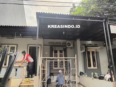 Servis atau Ganti Rangka Canopy dan pembuatan Rak Sabun di Rumah Bu Ari Depok Permata Regency