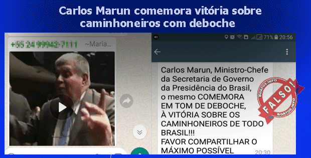 Carlos Marun comemora e debocha vitória sobre caminhoneiros