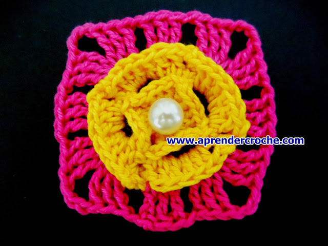 aprender croche blog edinir-croche loja video-aulas curso frete gratisdvd mini flores quadrado rosa amarelo pérolas