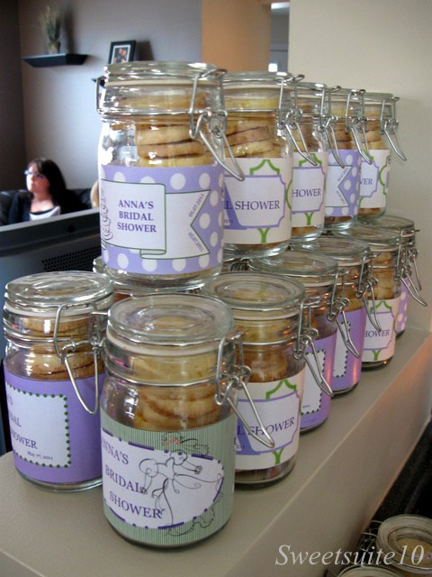 Bridal shower mason jar cookies