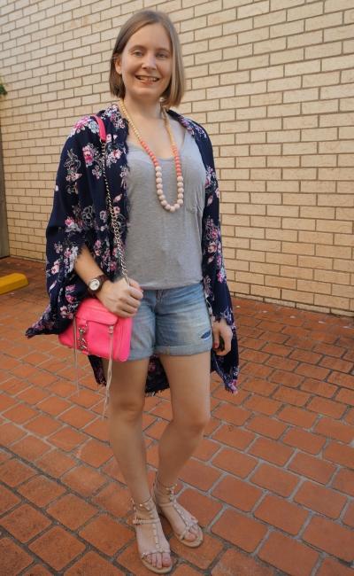 floral kimono grey tee, denim shorts, neon pink mini mac bag | awayfromblue