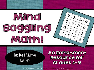 Problem solving doesn't always mean word problems--and this math challenge activity proves it! Perfect for math workshop, for fast finishers, for math enrichment. Third grade, fourth grade, second grade. Addition and subtraction and problem solving.