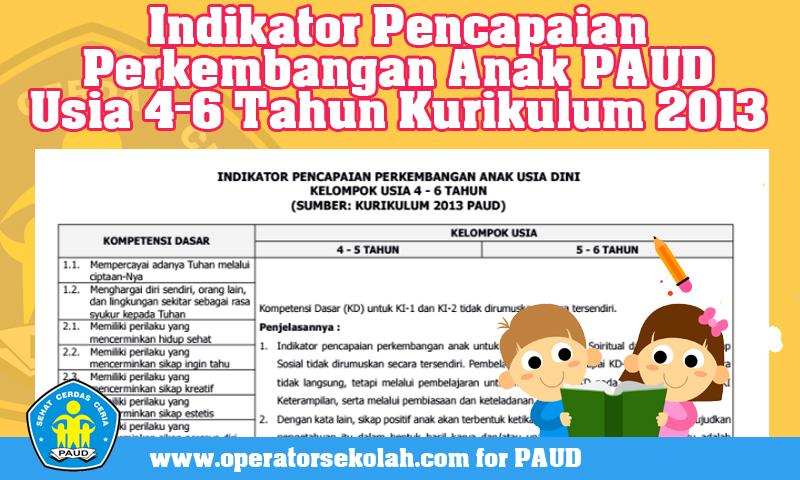 Indikator Pencapaian Perkembangan Anak PAUD Usia 4-6 Tahun Kurikulum 2013