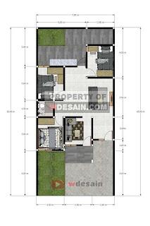 Denah rumah sederhana 7x15 meter