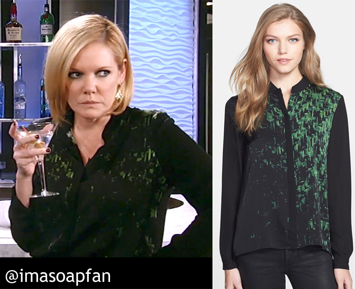 Ava Jerome, Maura West, Black and Green Abstract Print Blouse, Elie Tahari, GH, General Hospital