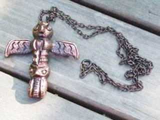 Totem pole brooch necklace by Hollywood