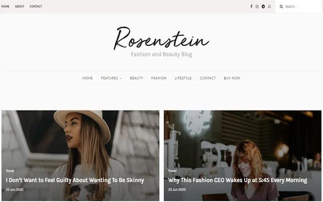 Rosenstein Responsive Blogger Template Untuk Fashion & Beauty