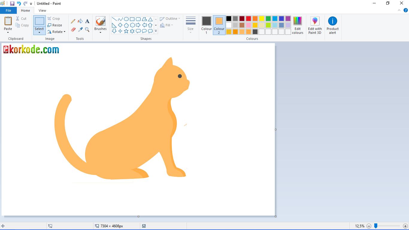 Tutorial Menggambar Kucing Menggunakan Paint Mudah - ekorkode.com
