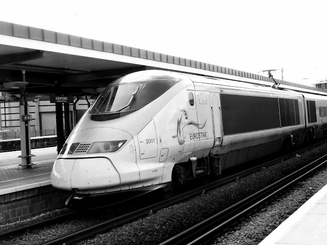 Black and white photo of Eurostar Train 3001 at Ashford International Station in 2013