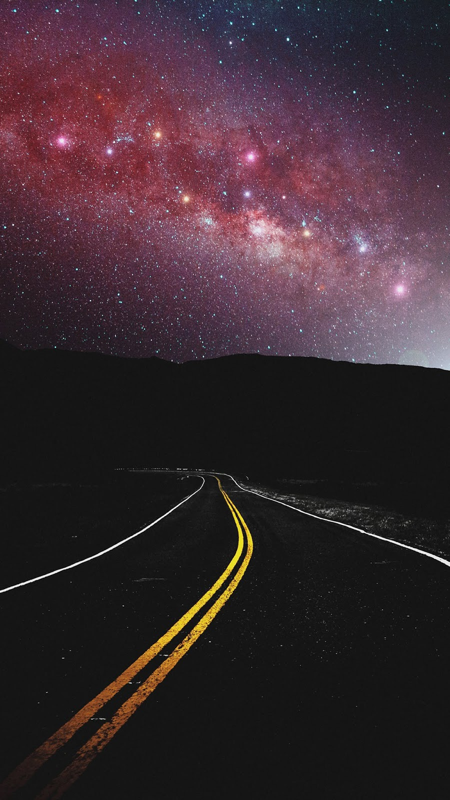 Road in the night sky