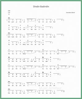 not angka lagu dindin badindin lagu daerah sumatera barat