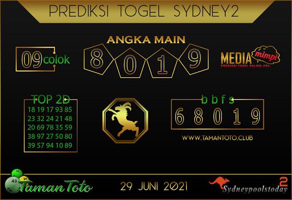 Prediksi Togel SYDNEY 2 TAMAN TOTO 29 JUNI 2021