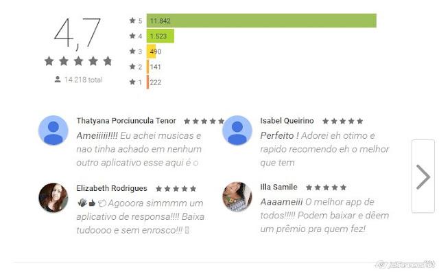 Comentários Playstore aplicativo Youtube mp3