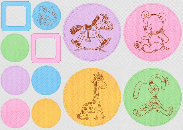 Marcos y Etiquetas del Clipart de Bebés Retro.