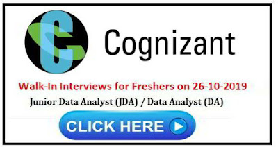 Walk-in interview for Freshers on 26th October, 2019 @ Cognizant Technology