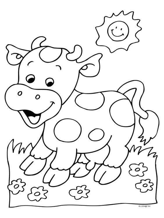 Hình tô màu con bò cute