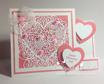 Kelly s Cards  Die cutting I used Lace Heart create a card die from Crafters Companion along with  nesting hearts and heart embossing folder also from Crafters Companion