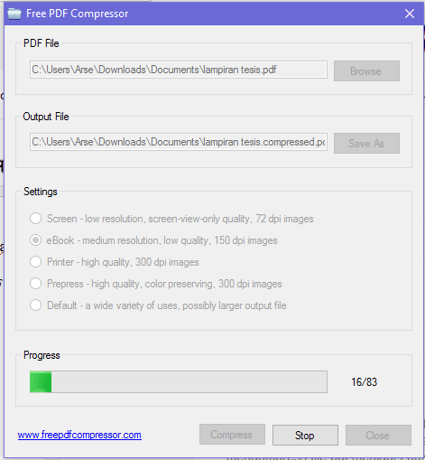 Proses compressing file pdf