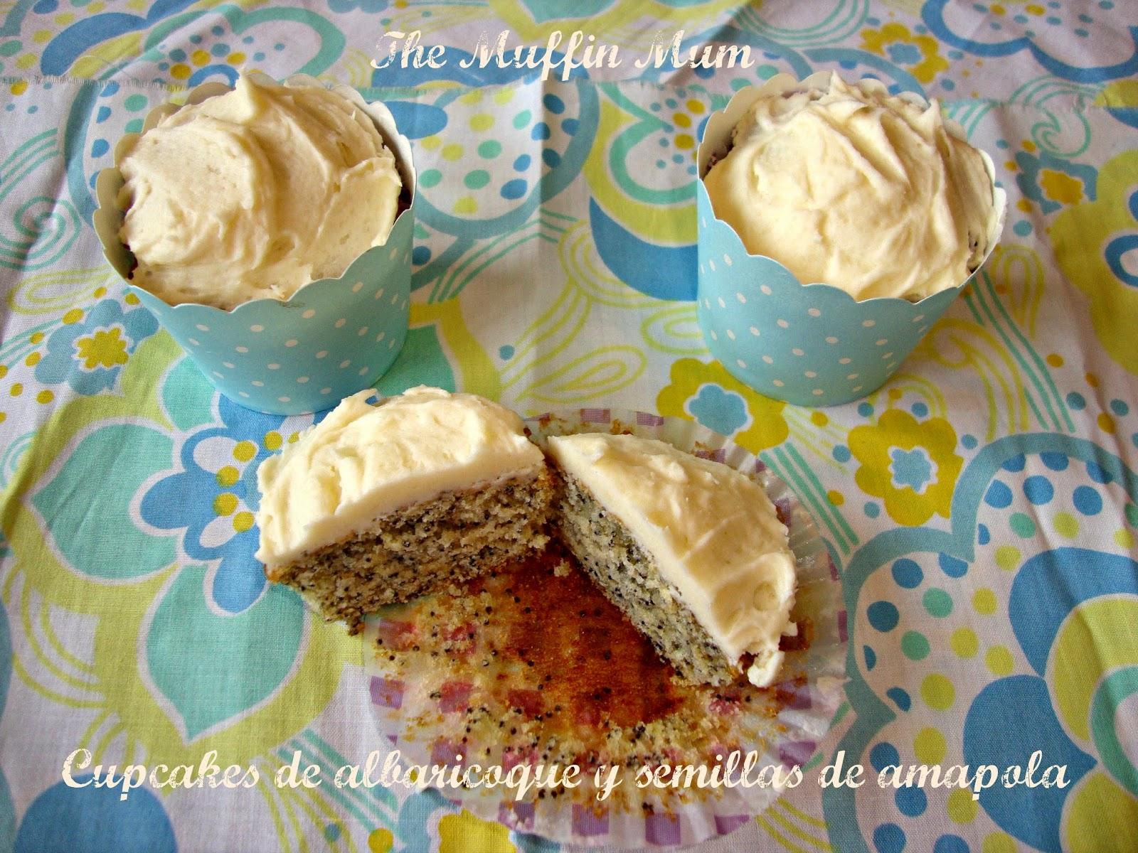 Cupcakes de albaricoque con semillas de amapola