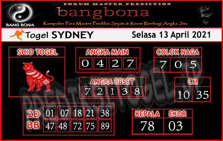 Prediksi Bangbona Sydney Selasa 13 April 2021