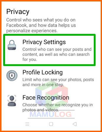 click on privacy setting