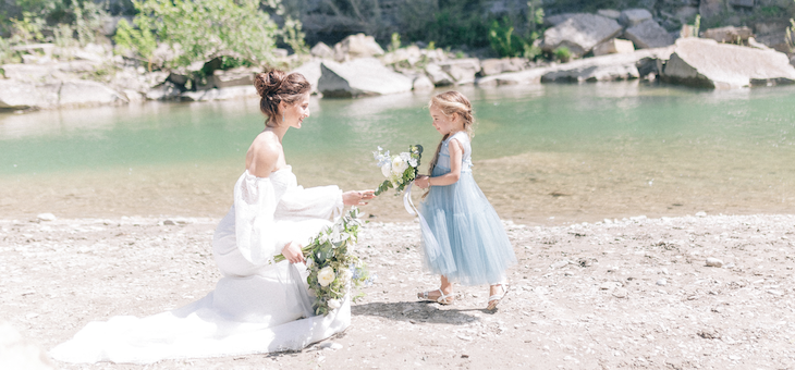 A Mother-Daughter Fairytale at a Waterfall in Tuscany Italy