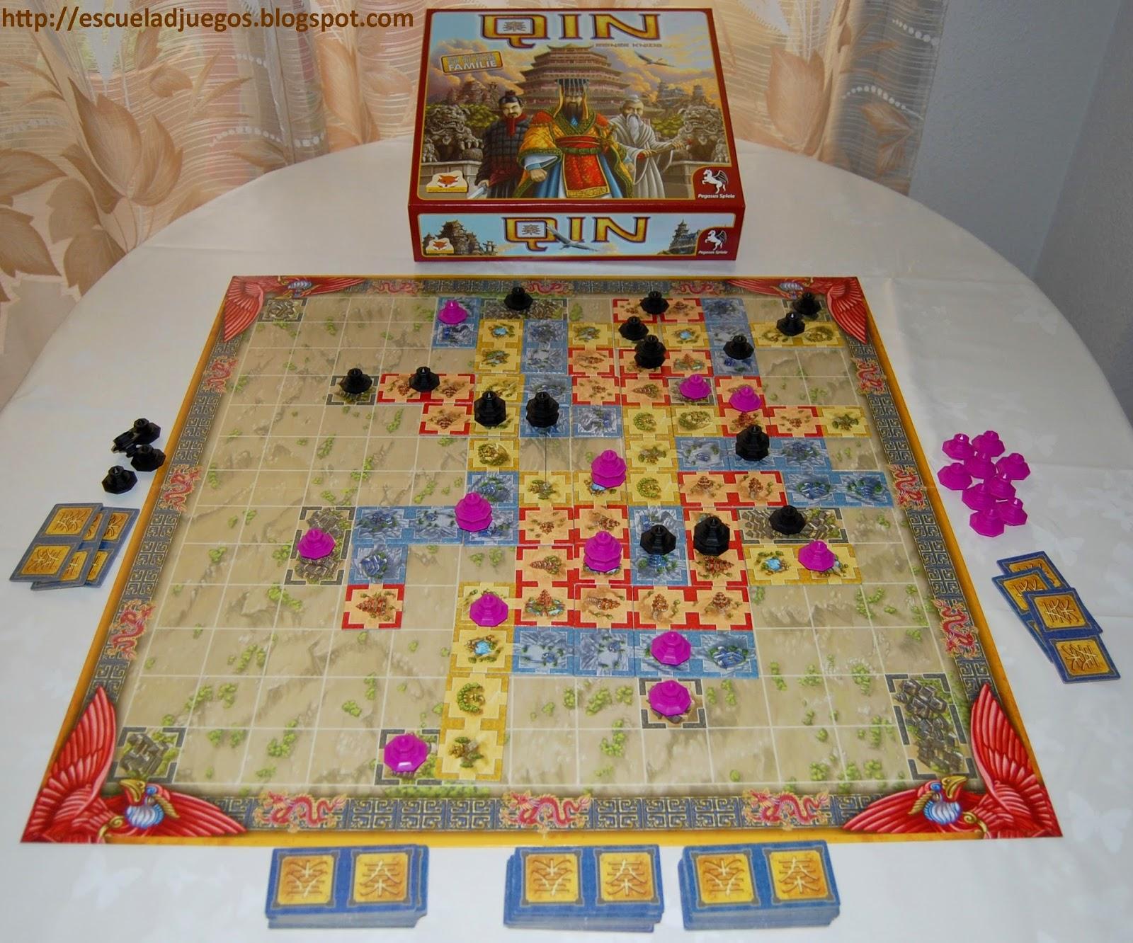 Reseña de Qin, juego de mesa de Reiner Knizia para hasta 4 jugadores, publicado por Pegasus Spiele.