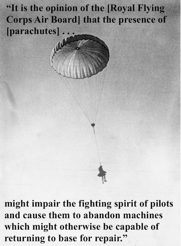 Photo of man in a kilt parachuting to the ground. Quote from Royal Flying Air Corps justifying no use of parachutes. Parachutes in WWI at eastsussexww1.org.uk. Dogfights and other stories of pilots. marchmatron.com